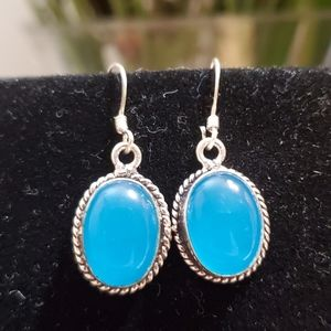 SILVER PLATED CHALCEDONY EARRINGS
